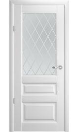 """Эрмитаж 2 Винил белый матовое стекло рис. """"Ромб"""" межкомнатная дверь"""