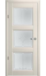 """Эрмитаж 3 Винил ваниль матовое стекло рис. """"Галерея"""" межкомнатная дверь"""