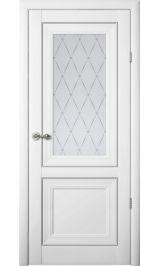 """Прадо Винил белый молдинг серебро матовое стекло рис. """"Гранд"""" межкомнатная дверь"""