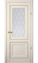 """Прадо Винил ваниль молдинг золото матовое стекло рис. """"Гранд"""" межкомнатная дверь"""