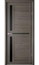 Кельн Серый кедр черное стекло межкомнатная дверь 800 мм (Витрина)