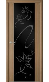 """Сан-Ремо-1 Янтарный кипарис черное стекло рис.""""Симфония"""" межкомнатная дверь"""