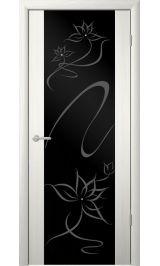 """Сан-Ремо-1 Белый кедр черное стекло рис. """"Симфония"""" межкомнатная дверь"""