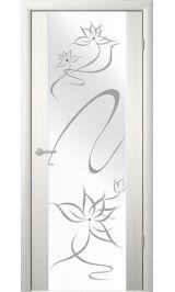 """Сан-Ремо-1 Белый кедр молочное стекло рис. """"Симфония"""" межкомнатная дверь"""