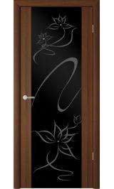 """Сан-Ремо-1 Орех таволато черное стекло рис. """"Симфония"""" межкомнатная дверь"""