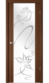 """Сан-Ремо-1 Орех таволато молочное стекло рис. """"Симфония"""" межкомнатная дверь"""