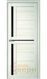 Йота-5 (м-5) Eco-Tex Капучино черное стекло межкомнатная дверь