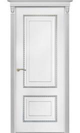Бисмарк ДГ белая эмаль патина серебро Коллекция Silver межкомнатная дверь