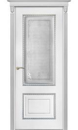 Бисмарк ДО белая эмаль патина серебро матовое стекло Коллекция Silver межкомнатная дверь