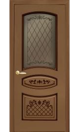 Крит ДО Орех темный шпон файнлайн стекло бронза Коллекция Silver межкомнатная дверь