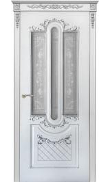 Орлеан ДО белая эмаль патина серебро матовое стекло Коллекция Silver межкомнатная дверь