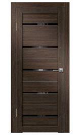 Грация-1 ДО (венге вертикальный) черное стекло межкомнатная дверь