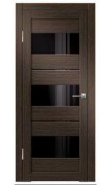 Виктория ДО (венге вертикальный) черное стекло межкомнатная дверь