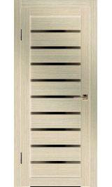 Грация-2 ДО (лиственница) черное стекло межкомнатная дверь