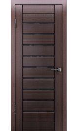 Грация-2 ДО (венге вертикальный) черное стекло межкомнатная дверь
