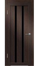 Палермо-6 (венге вертикальный) черное стекло межкомнатная дверь