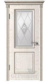 GLPremier 22 слоновая кость/дуб коньяк двусторонняя, патина капучино межкомнатная дверь (Витрина)