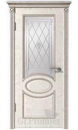 GLPremier 12 слоновая кость/дуб коньяк двусторонняя, патина черная межкомнатная дверь (Витрина)