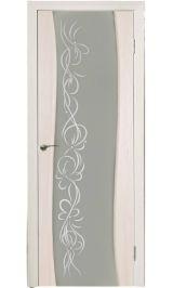 Волна молочое стекло (орех капучино) межкомнатная дверь 800 мм. (Витрина)