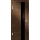 Технолайт 4 шоко/черн стекло межкомнатная дверь