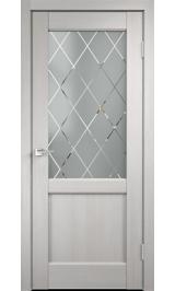 CLASSICO 3 2V Дуб белый стекло ромб межкомнатная дверь