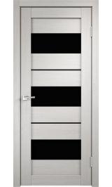 DUPLEX 12 Дуб беленый черное стекло межкомнатная дверь