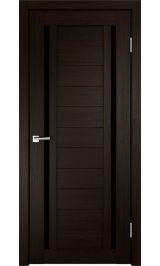 ДО М-7 Экошпон Венге черное стекло межкомнатная дверь