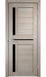 ДО М-5 Экошпон Лиственница черное стекло межкомнатная дверь
