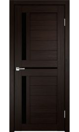 ДО М-5 Экошпон Венге черное стекло межкомнатная дверь