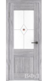 Clasic 2 (С2ПО2) серый дуб белое матовое стекло фьюз. межкомнатная дверь