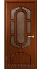 Кристалл ДО (красное дерево) межкомнатная дверь (Витрина)