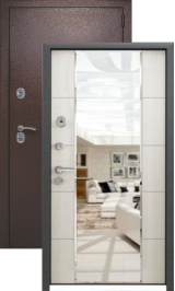 KVADRA-3K беленый дуб с зеркалом металлическая входная дверь
