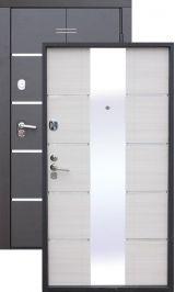 Альта тех 2 мдф белый ясень с зеркалом + молдинг металлическая входная дверь