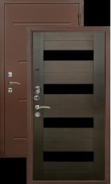 Хит 132 антик медь орех темный рифленый стекло черное металлическая входная дверь