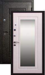 Крепость-F6 черный шелк беленый дуб зеркало металлическая входная дверь