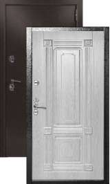 KVADRA ТЕРМО антик медь/беленый дуб металлическая входная дверь