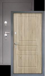 Тепло-дверь N-24, Шелк-бордо/Ель карпатская металлическая входная дверь
