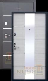 Сильвер Черный муар с зеркалом металлическая входная дверь