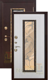 Тепло-дверь Ковка антик медь/белый ясень металлическая входная дверь