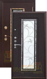 Тепло-дверь Ковка антик медь/венге металлическая входная дверь