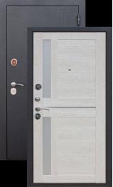 Тепло-дверь Нью-Йорк Черный муар/Каштан перламутр металлическая входная дверь