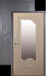 Зевс Н-0, Серебро-Лён зеркало металлическая входная дверь
