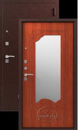СИБИРЬ S-4, ЗЕРКАЛО, МЕДЬ - ИТАЛЬЯНСКИЙ ОРЕХ металлическая входная дверь