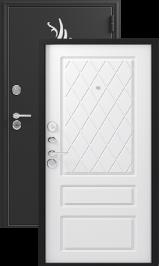 Зевс Z-7, черный шелк-софт белый, металлическая входная дверь